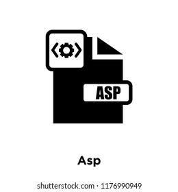Asp icon vector isolated on white background, logo concept of Asp sign on transparent background, filled black symbol