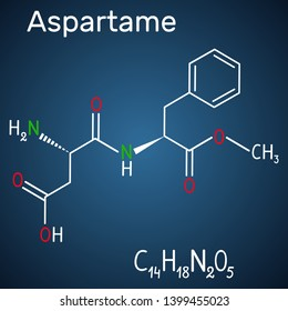 Aspartame, APM, molecule. Sugar substitute and E951. Structural chemical formula and molecule model on the dark blue background. Vector illustration