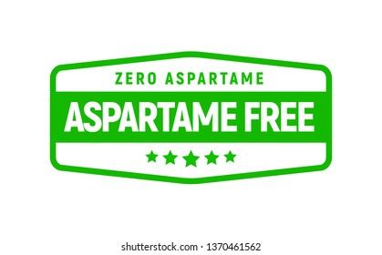 Aspartame free artificial symbol icon. Health product no aspartame sticker stamp, sweetener no sugar.