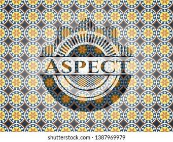 Aspect arabesque badge. arabic decoration.