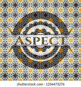 Aspect arabic style badge. Arabesque decoration.