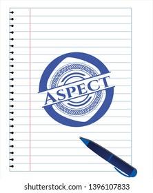 Aspect blue ink pen emblem. Vector Illustration. Detailed.