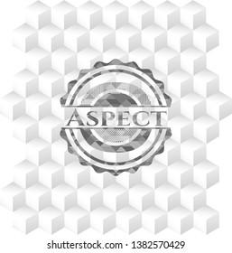 Aspect grey emblem with geometric cube white background