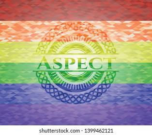 Aspect lgbt colors emblem. Vector Illustration. Mosaic.
