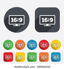 Aspect ratio 16:9 widescreen tv sign icon. Monitor symbol. Circles and rounded squares 12 buttons. Vector