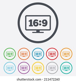 Aspect ratio 16:9 widescreen tv sign icon. Monitor symbol. Round circle buttons with frame. Vector