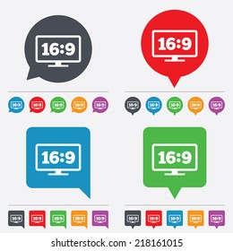 Aspect ratio 16:9 widescreen tv sign icon. Monitor symbol. Speech bubbles information icons. 24 colored buttons. Vector