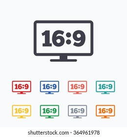 Aspect ratio 16:9 widescreen tv sign icon. Monitor symbol. Colored flat icons on white background.
