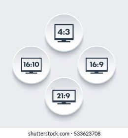 Aspect ratio icons, 16:9, 16:10, 4:3, 21:9, widescreen and standard monitors, tv signs