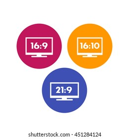 Aspect ratio icons on white, 16:9, 16:10, 21:9 widescreen tv, monitors, vector illustration
