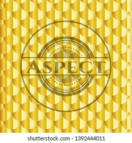 Aspect shiny golden badge. Scales pattern. Vector Illustration. Detailed.
