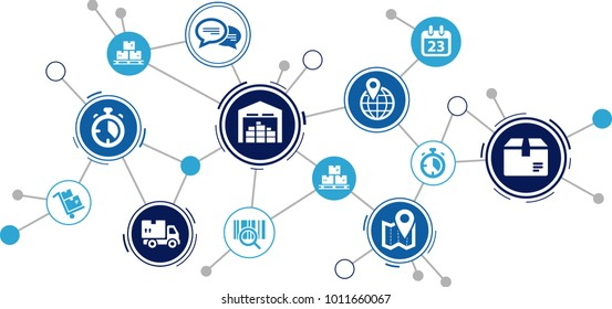Aspects of modern company logistics processes – vector illustration