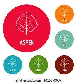 Aspen leaf icons circle set vector isolated on white background