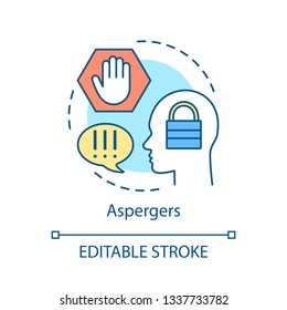 Asperger syndrome concept icon. Developmental disorder idea thin line illustration. Aspergers vector isolated outline drawing. Mental delay diagnosis, therapy. Autism spectrum. Editable stroke