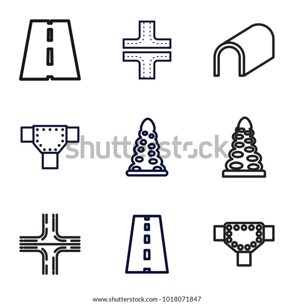 Asphalt Icons Set 9 Editable Outline Stock Vector (Royalty Free