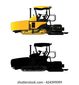 Asphalt paver, vector illustration. Isolated on white. Icon. Flat style. Silhouette