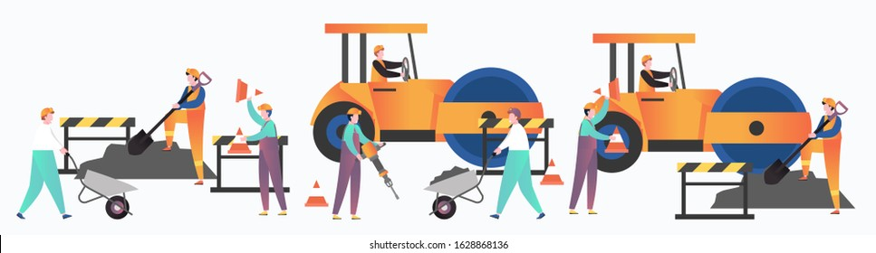 Asphalt paving and repair services set, vector illustration. Male characters workers driving yellow asphalt compactor roller, working with jackhammer wheelbarrow shovel. Asphalt pavement installation.