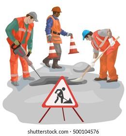 asphalt repair. repairs. men in the form of road repair.asphalt laying. vector illustration