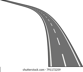 Asphalt Road isolated on white Vector illustration