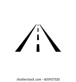 Asphalt road with markings leading into the distance on a white background vector icon