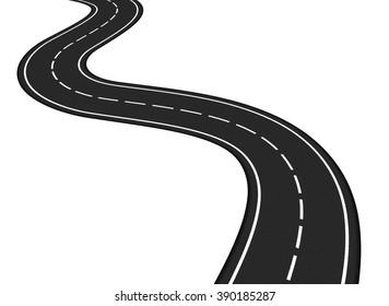 Asphalt road on white background, vector eps10 illustration