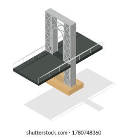 Asphalt road overpass. Bridge over river. Urban transportation element. Isometric style. Vector isolated illustration.