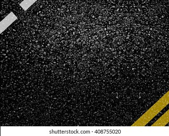 Asphalt road surface vector background with markings