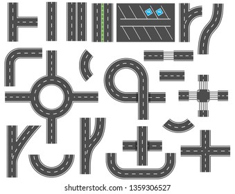 Asphalt roads design elements for city map. Street and road with footpaths and crossroads. elements for city map. Highway asphalt path traffic streets. Vector illustration in flat style