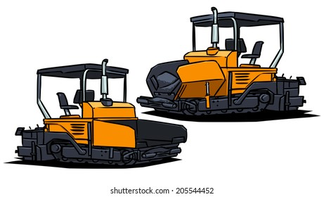 asphalt spreader. asphalt spreading machine isolated on white background.