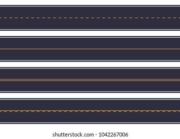 Asphalt straight roads with marking set. Vector illustration