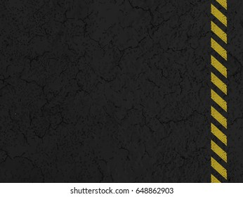 Asphalt with yellow road line. grungy, dirty view of asphalt.
