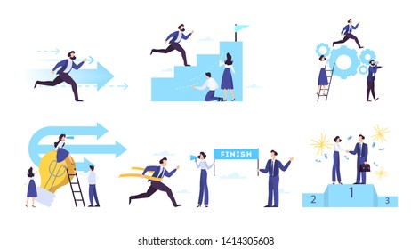 Aspiration and business goal web banner concept set. Idea of success and progress in the career. Moving up to the personal growth, motivation metaphor. Isolated vector illustration in cartoon style