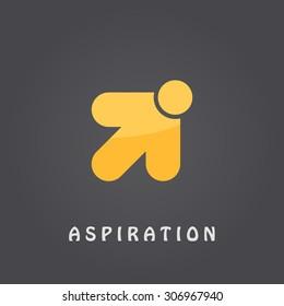 Aspiration logo template, arrow pointer, 2d vector on dark gradient background, eps 10