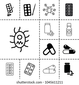Aspirin icons. set of 13 editable filled and outline aspirin icons such as paints, pill, medical pills, virus and pills, medicine