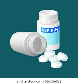 Aspirin pill bottle vector illustration. Medicine remedy in plastic container. Pharmaceutical medicament painkiller isolated in realistic style. Package for pill capsules. Medical treatment