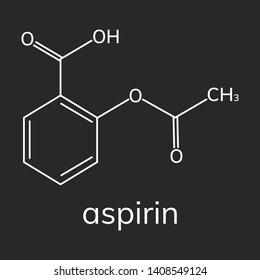 Aspirin vector icon on dark background, acetylsalicylic acid