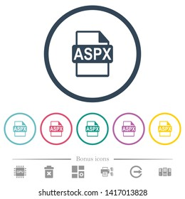 ASPX file format flat color icons in round outlines. 6 bonus icons included.
