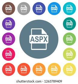 ASPX file format flat white icons on round color backgrounds. 17 background color variations are included.