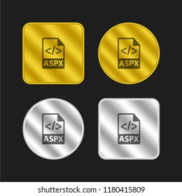 ASPX file format gold and silver metallic coin logo icon design