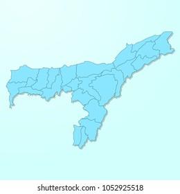 Assam blue map on degraded background vector