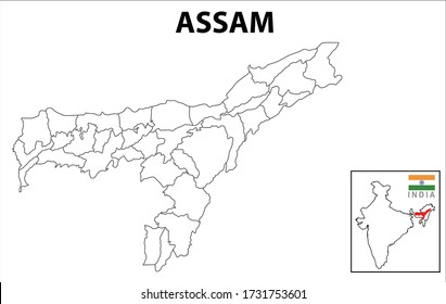 Assam map. Political and administrative map of Assam with districts name. Showing International and State boundary and district boundary of Assam. Vector illustration of districts map.