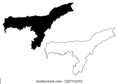 Assam (States and union territories of India, Federated states, Republic of India) map vector illustration, scribble sketch Assam state map