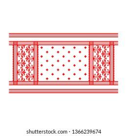Assamese Traditional Gamosa, Gamocha, Pattern, Texture, Background  - Vector
