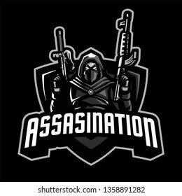 Assasin with Gun Mascot Logo for Sport and Esport isolated on dark Background
