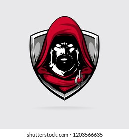 assasin in red hood logotype for sport or game team