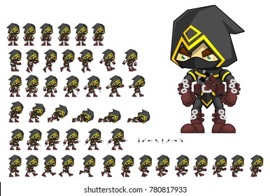 Assassin animated character for creating fantasy video games