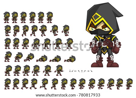 Assassin animated character for