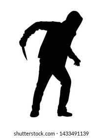 Assassin with knife silhouette vector