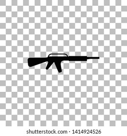 Assault carbine. Black flat icon on a transparent background. Pictogram for your project