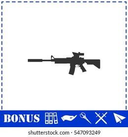 Assault carbine icon flat. Simple vector symbol and bonus icon